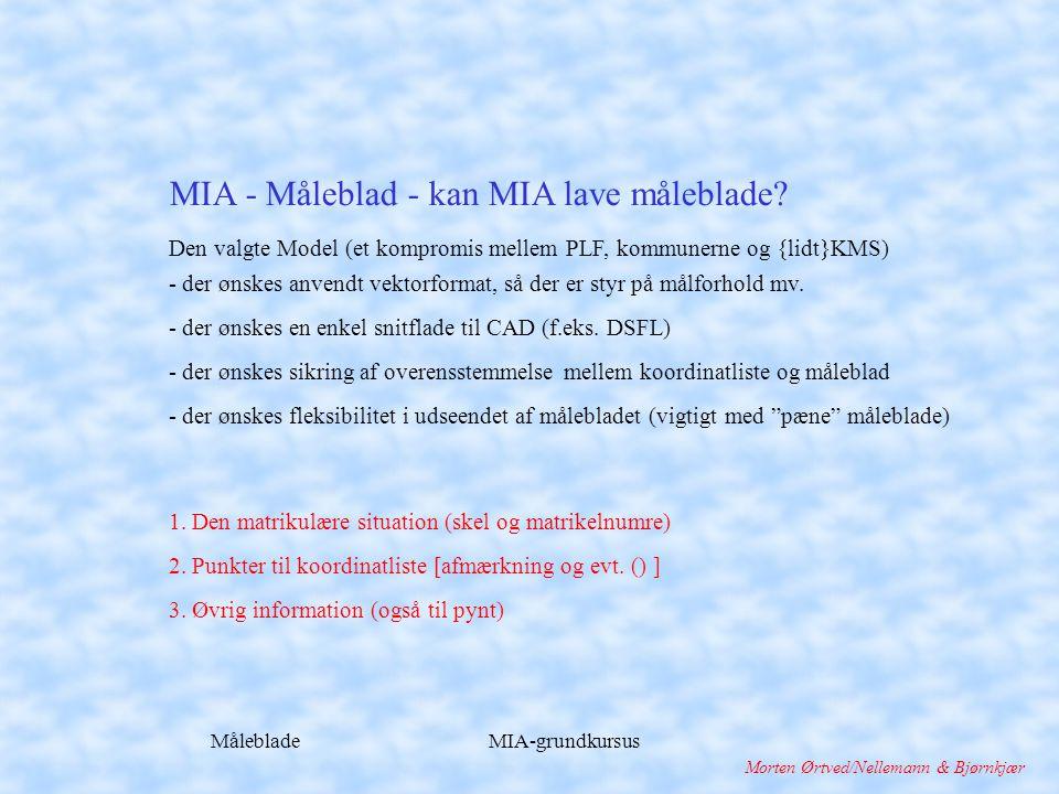 Måleblade MIA-grundkursus Morten Ørtved/Nellemann & Bjørnkjær Den valgte Model (et kompromis mellem PLF, kommunerne og {lidt}KMS) - der ønskes anvendt vektorformat, så der er styr på målforhold mv.