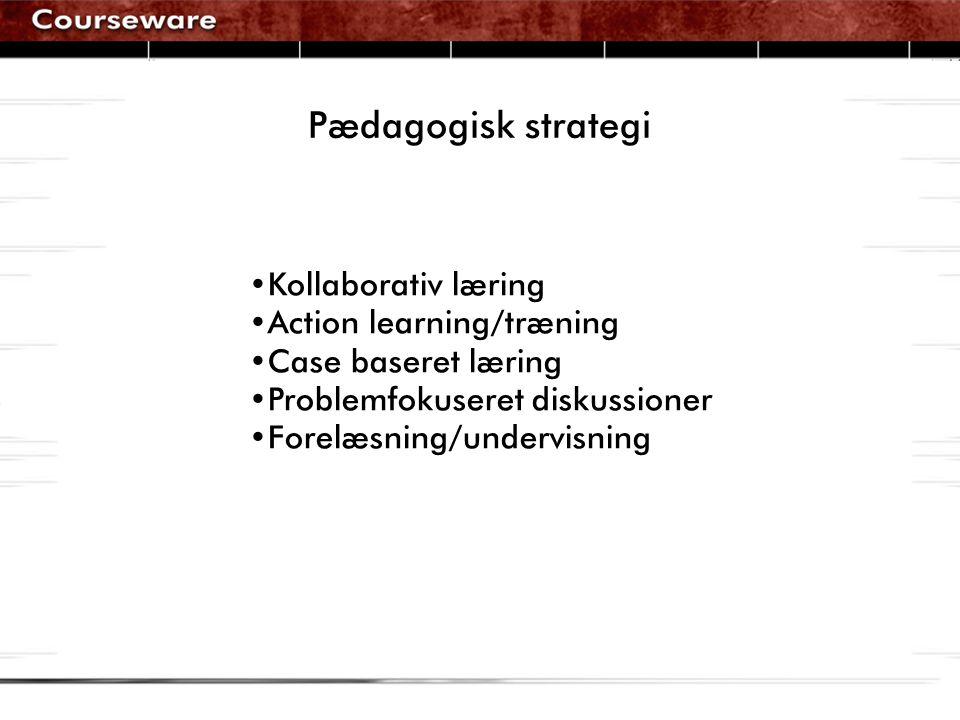 Pædagogisk strategi •Kollaborativ læring •Action learning/træning •Case baseret læring •Problemfokuseret diskussioner •Forelæsning/undervisning