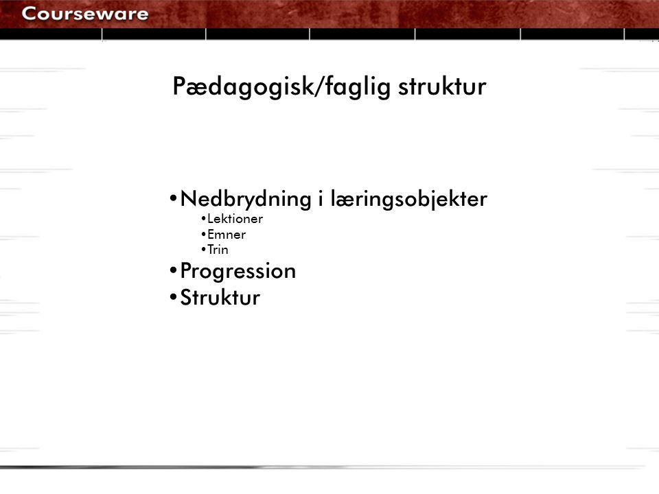 Pædagogisk/faglig struktur •Nedbrydning i læringsobjekter •Lektioner •Emner •Trin •Progression •Struktur