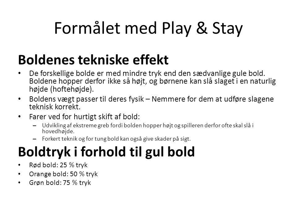 Formålet med Play & Stay Boldenes tekniske effekt • De forskellige bolde er med mindre tryk end den sædvanlige gule bold.