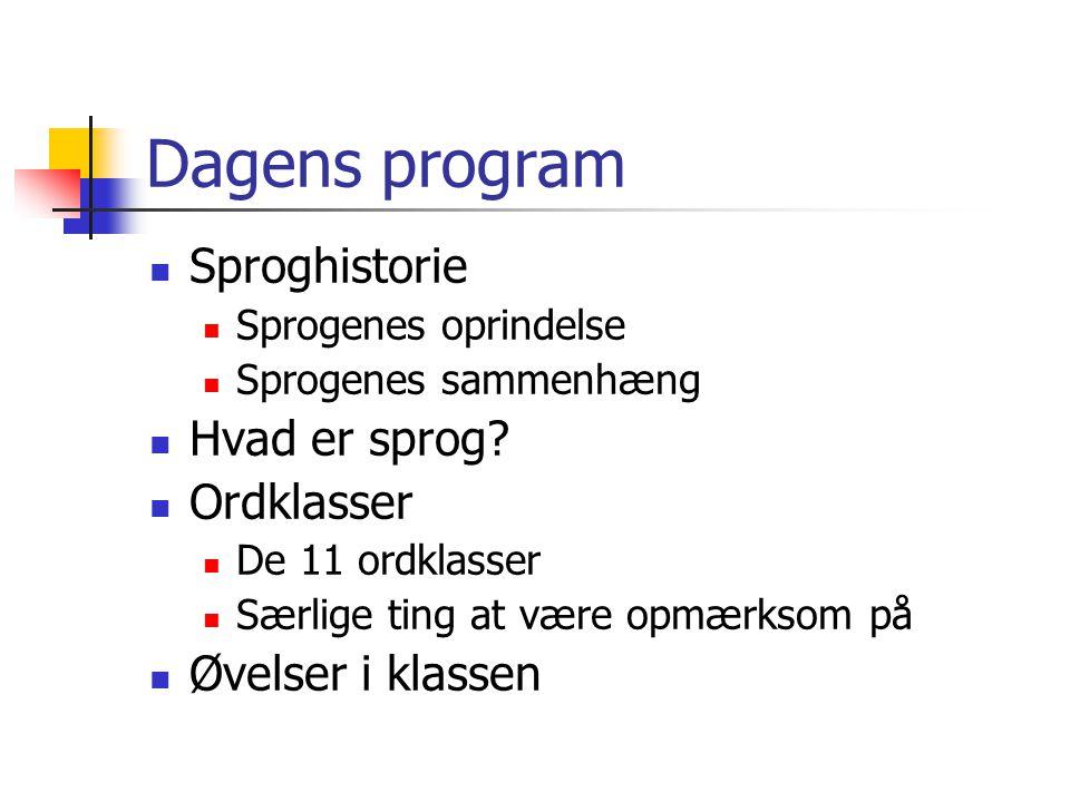 Dagens program  Sproghistorie  Sprogenes oprindelse  Sprogenes sammenhæng  Hvad er sprog.
