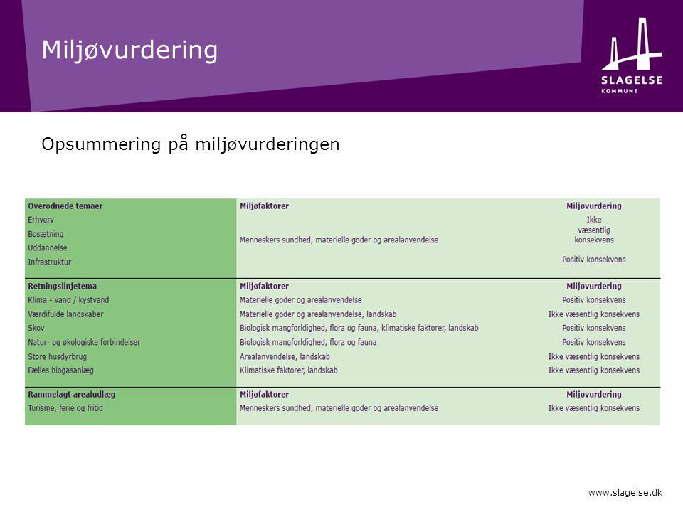 Miljøvurdering Opsummering på miljøvurderingen www.slagelse.dk
