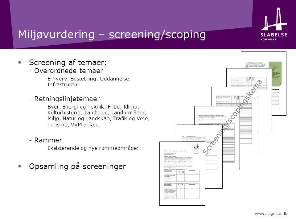 Miljøvurdering – screening/scoping  Screening af temaer: - Overordnede temaer Erhverv, Bosætning, Uddannelse, Infrastruktur.