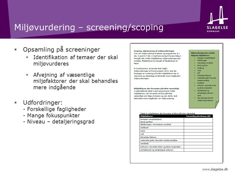 Miljøvurdering – screening/scoping  Opsamling på screeninger  Identifikation af temaer der skal miljøvurderes  Afvejning af væsentlige miljøfaktorer der skal behandles mere indgående  Udfordringer: - Forskellige fagligheder - Mange fokuspunkter - Niveau – detaljeringsgrad www.slagelse.dk