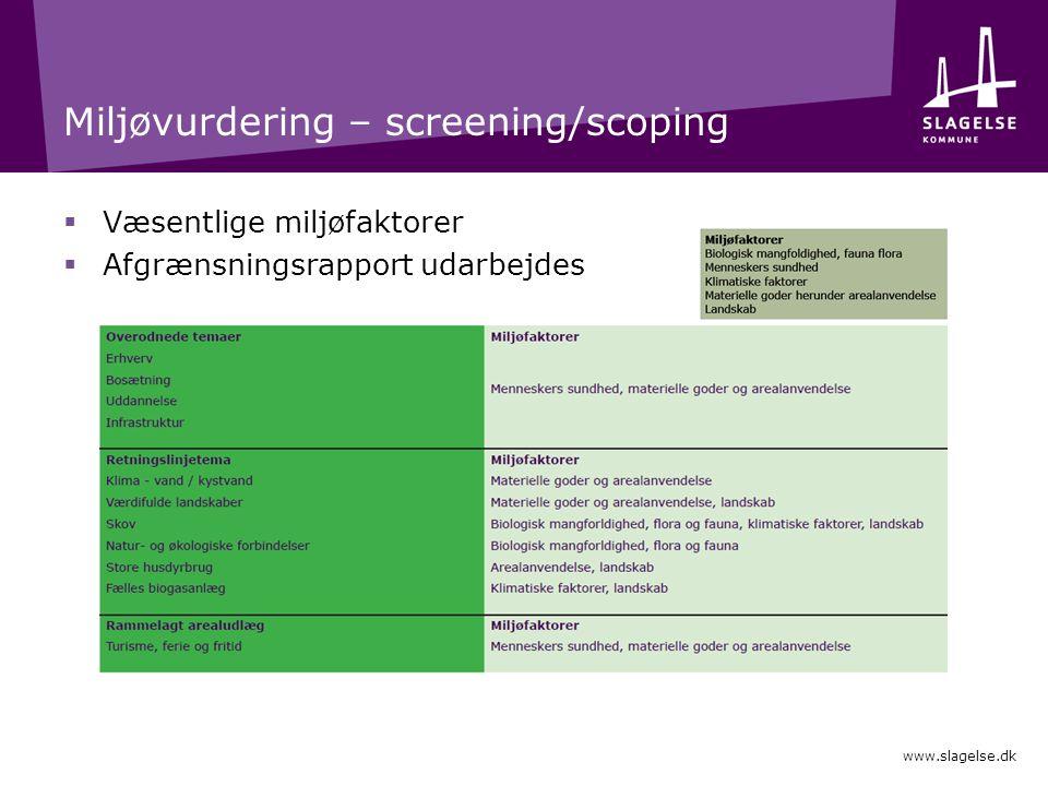 Miljøvurdering – screening/scoping  Væsentlige miljøfaktorer  Afgrænsningsrapport udarbejdes www.slagelse.dk