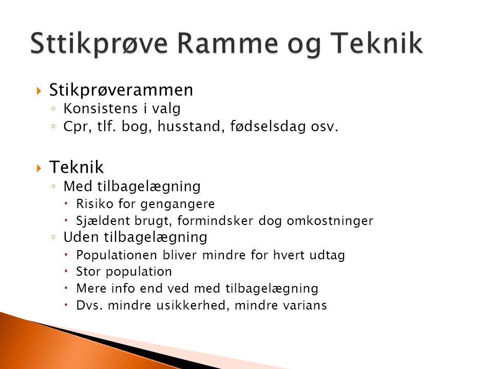  Stikprøverammen ◦ Konsistens i valg ◦ Cpr, tlf. bog, husstand, fødselsdag osv.