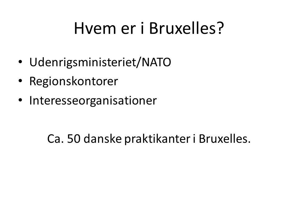 Hvem er i Bruxelles. • Udenrigsministeriet/NATO • Regionskontorer • Interesseorganisationer Ca.