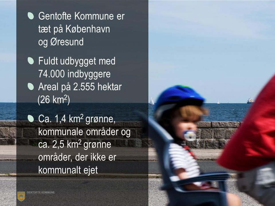 Gentofte Kommune er tæt på København og Øresund Fuldt udbygget med 74.000 indbyggere Areal på 2.555 hektar (26 km 2 ) Ca.