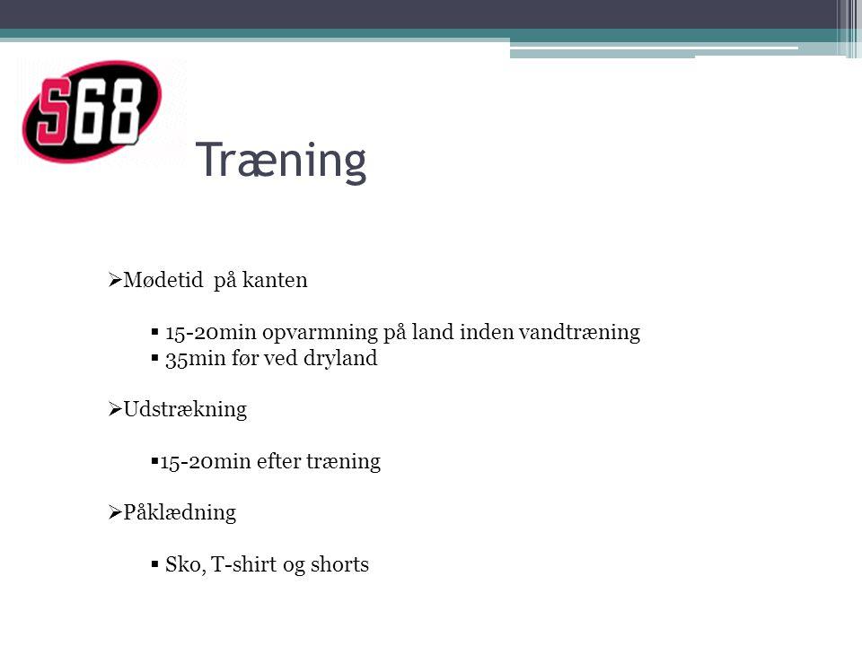 Træning  Mødetid på kanten  15-20min opvarmning på land inden vandtræning  35min før ved dryland  Udstrækning  15-20min efter træning  Påklædning  Sko, T-shirt og shorts