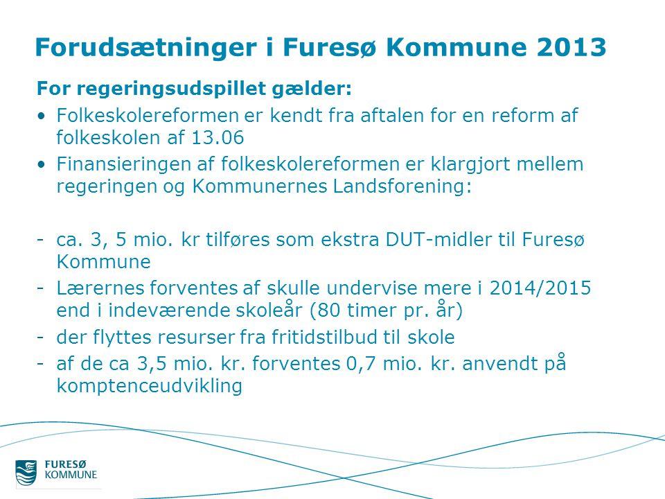 Forudsætninger i Furesø Kommune 2013 For regeringsudspillet gælder: •Folkeskolereformen er kendt fra aftalen for en reform af folkeskolen af 13.06 •Finansieringen af folkeskolereformen er klargjort mellem regeringen og Kommunernes Landsforening: -ca.