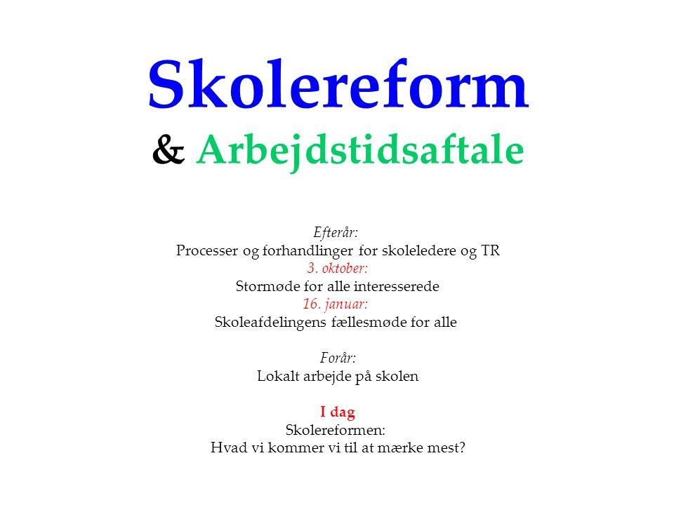 Skolereform & Arbejdstidsaftale Efterår: Processer og forhandlinger for skoleledere og TR 3.