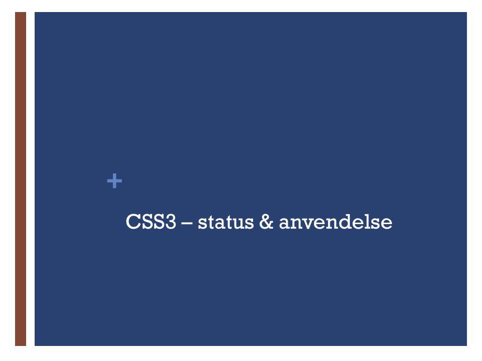 + CSS3 – status & anvendelse