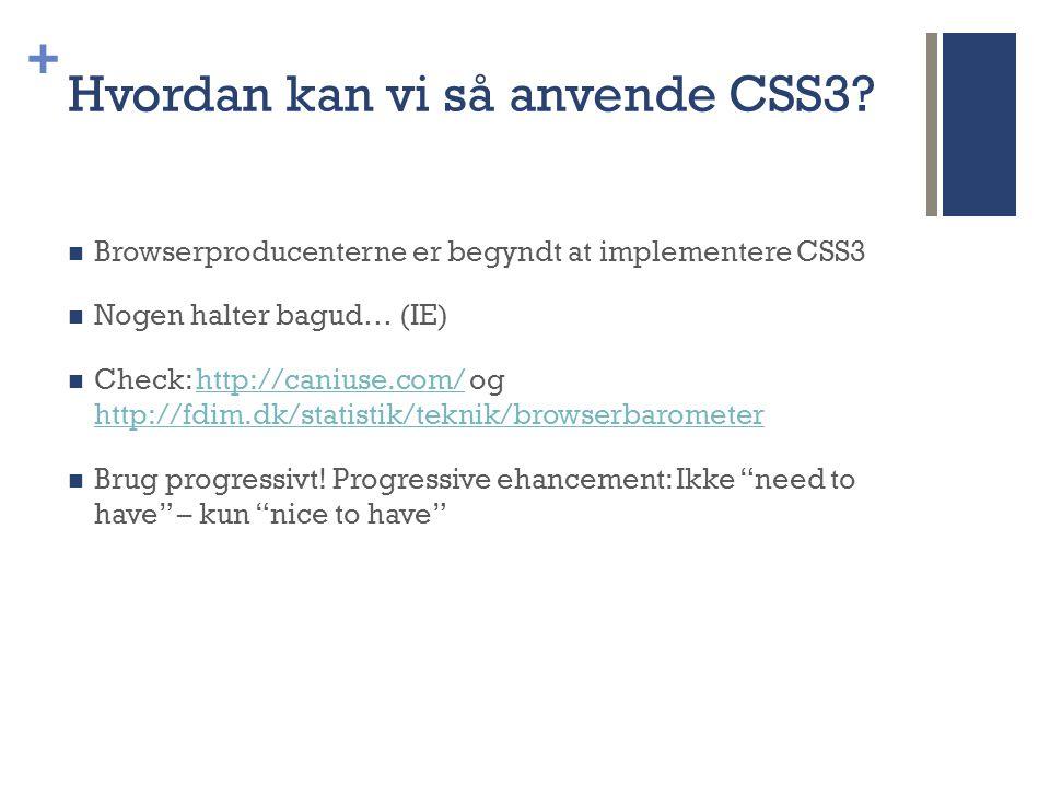 + Hvordan kan vi så anvende CSS3.