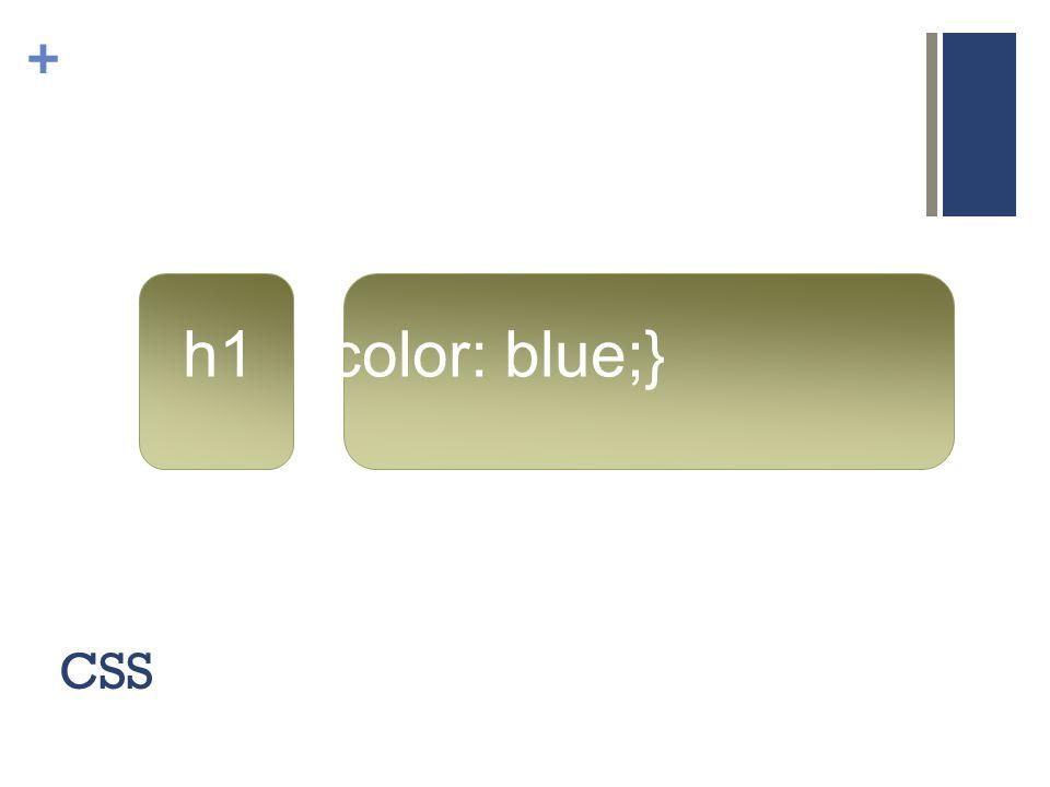 + CSS h1 {color: blue;}