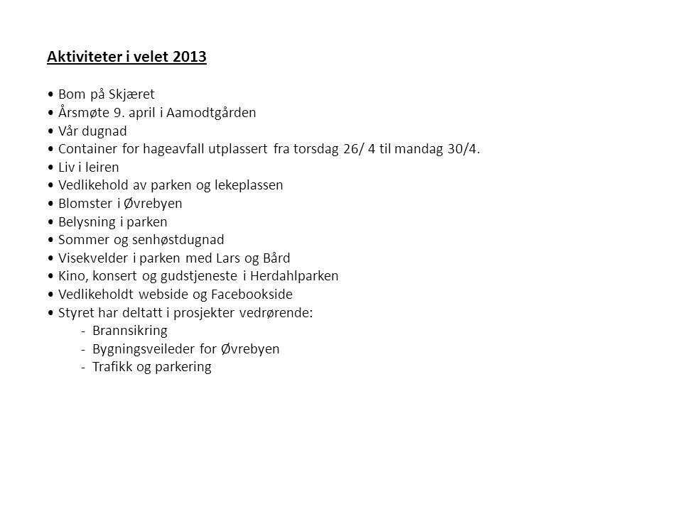 Aktiviteter i velet 2013 • Bom på Skjæret • Årsmøte 9.