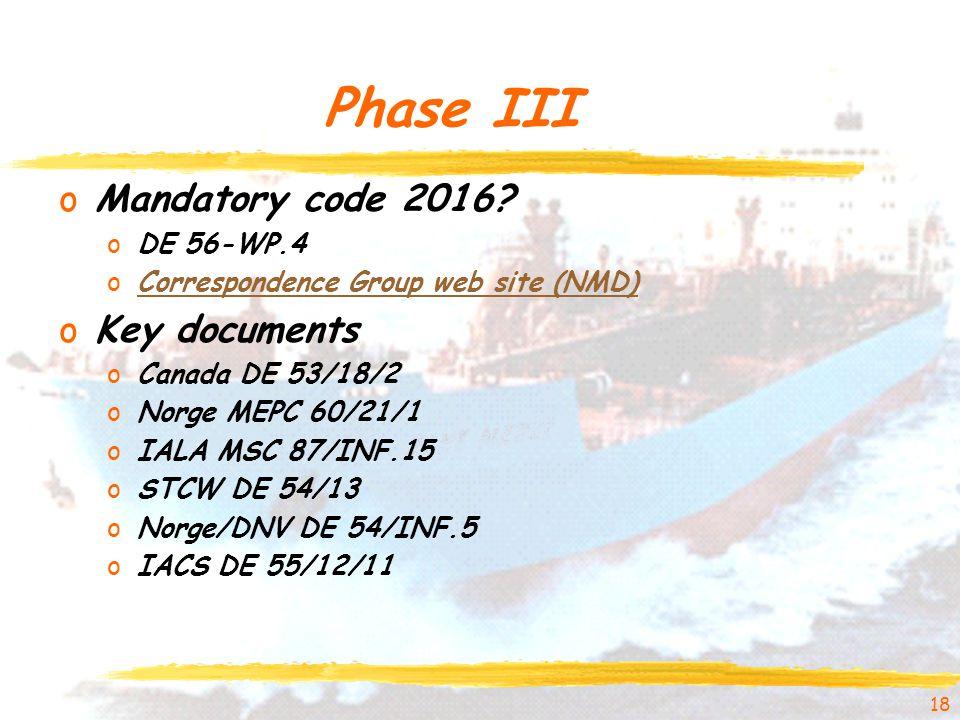 Phase III oMandatory code 2016.