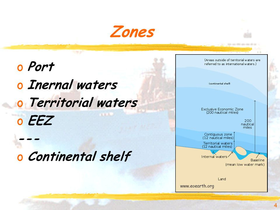 Zones oPort oInernal waters oTerritorial waters oEEZ --- oContinental shelf 4 www.eoearth.org