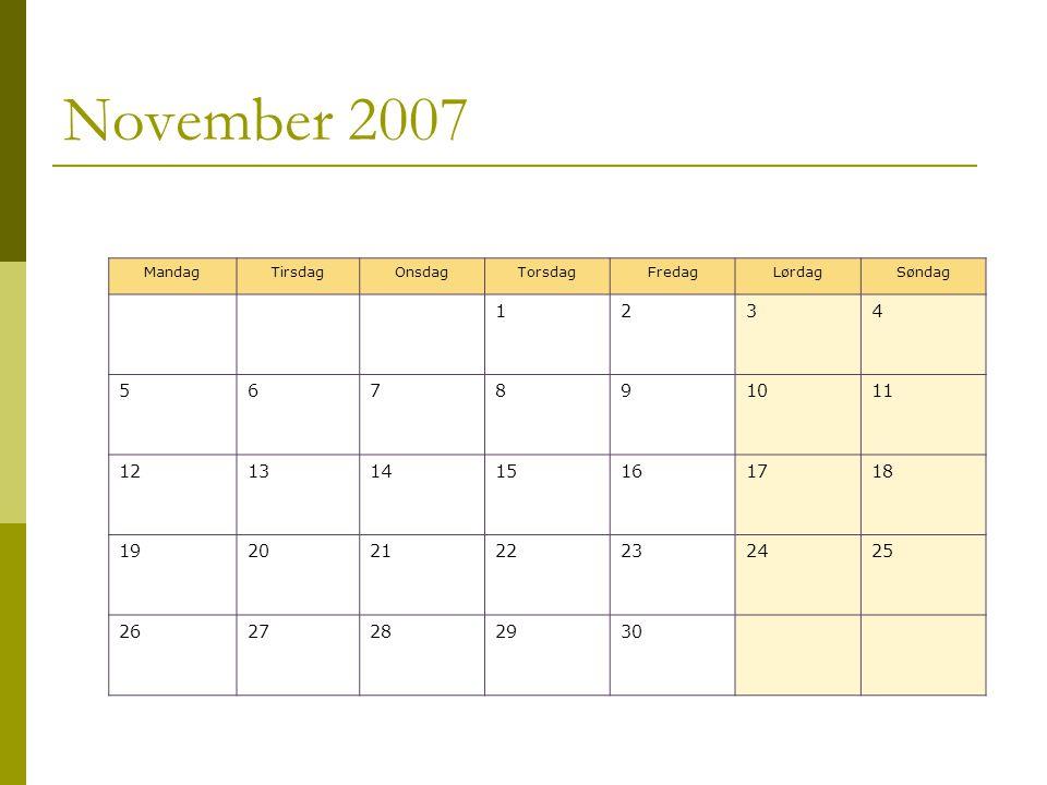 November 2007 MandagTirsdagOnsdagTorsdagFredagLørdagSøndag 1234 567891011 12131415161718 19202122232425 2627282930