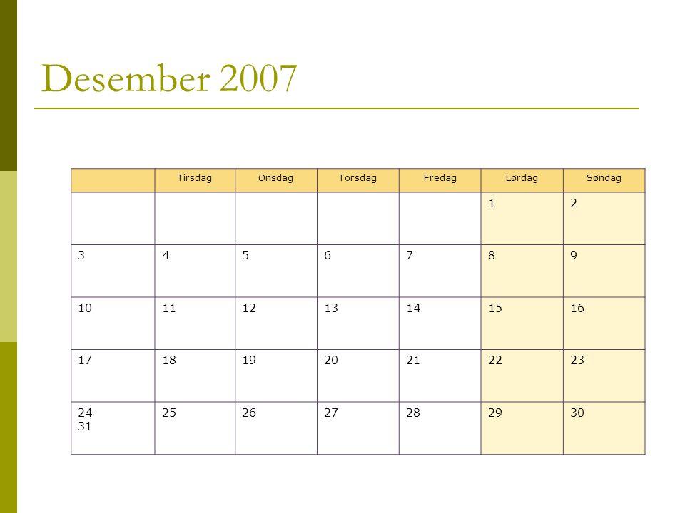 Desember 2007 TirsdagOnsdagTorsdagFredagLørdagSøndag 12 3456789 10111213141516 17181920212223 24 31 252627282930