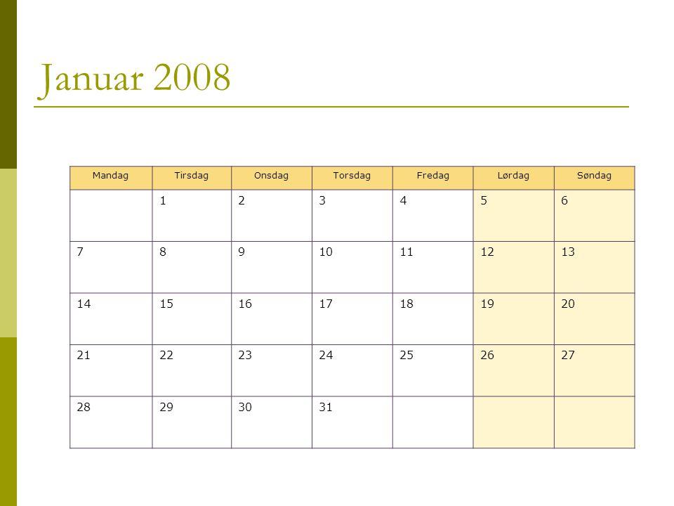 Januar 2008 MandagTirsdagOnsdagTorsdagFredagLørdagSøndag 123456 78910111213 14151617181920 21222324252627 28293031