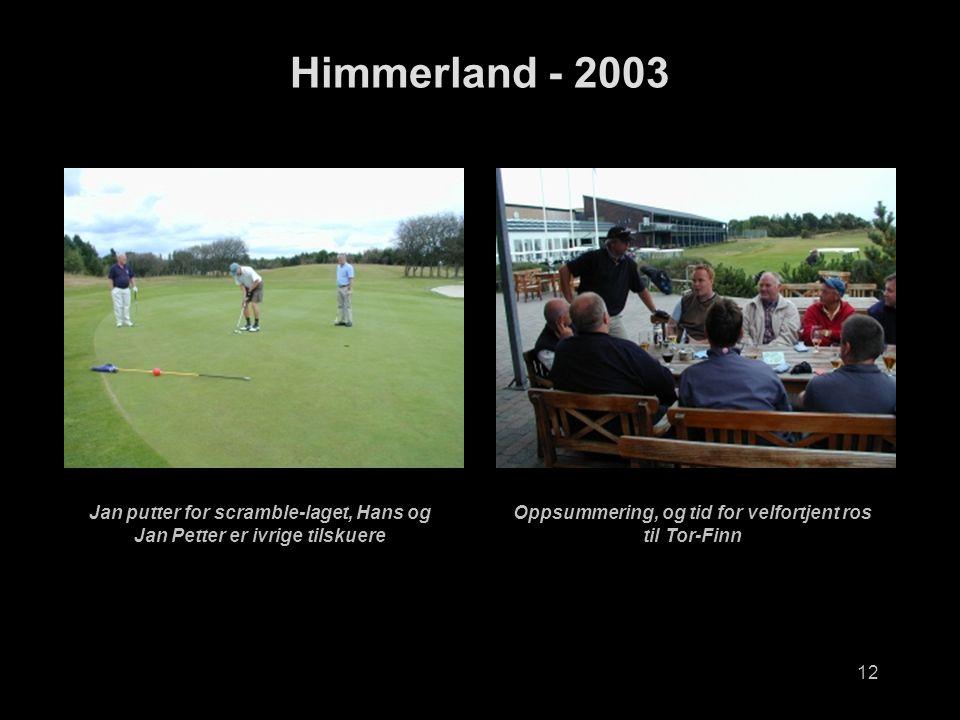12 Himmerland - 2003 Jan putter for scramble-laget, Hans og Jan Petter er ivrige tilskuere Oppsummering, og tid for velfortjent ros til Tor-Finn