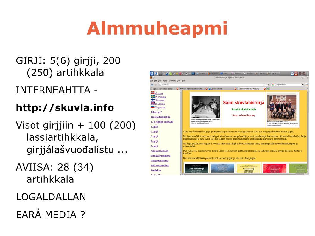 Almmuheapmi GIRJI: 5(6) girjji, 200 (250) artihkkala INTERNEAHTTA - http://skuvla.info Visot girjjiin + 100 (200) lassiartihkkala, girjjálašvuođalistu...