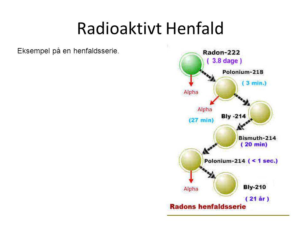 Radioaktivt Henfald Eksempel på en henfaldsserie.