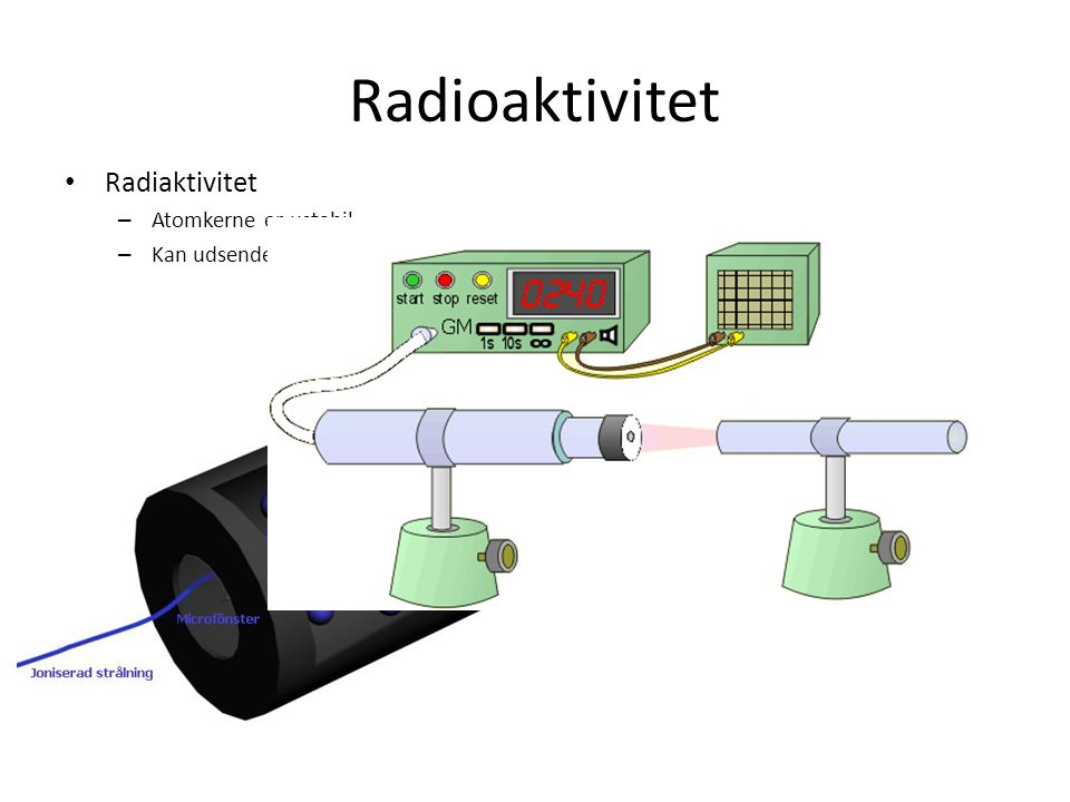 Radioaktivitet Radiaktivitet – Atomkerne er ustabil.
