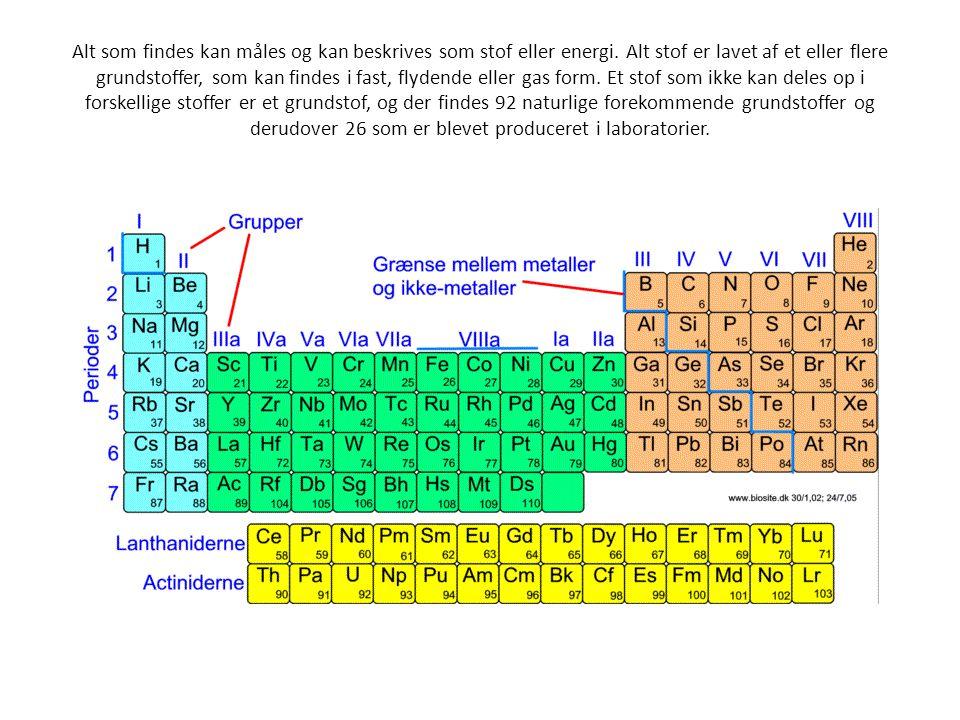 Alt som findes kan måles og kan beskrives som stof eller energi. Alt stof er lavet af et eller flere grundstoffer, som kan findes i fast, flydende ell