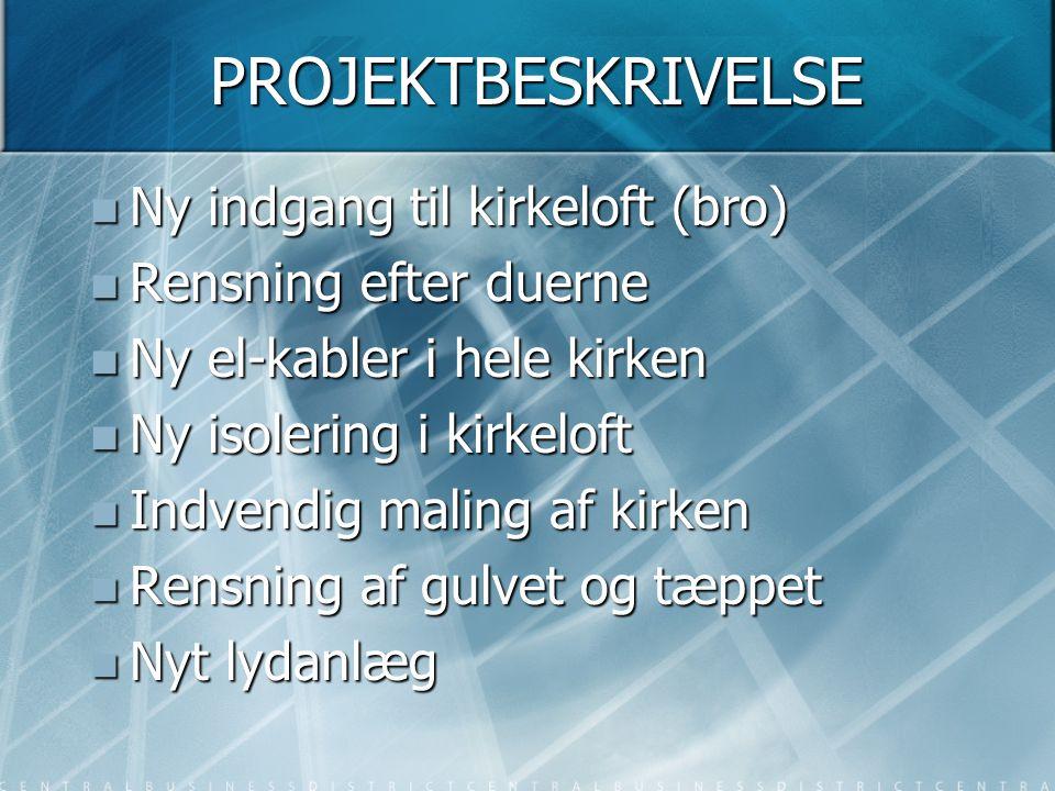 Kirkelofts- og Lydanlægsprojekt Status – pr. den 15.