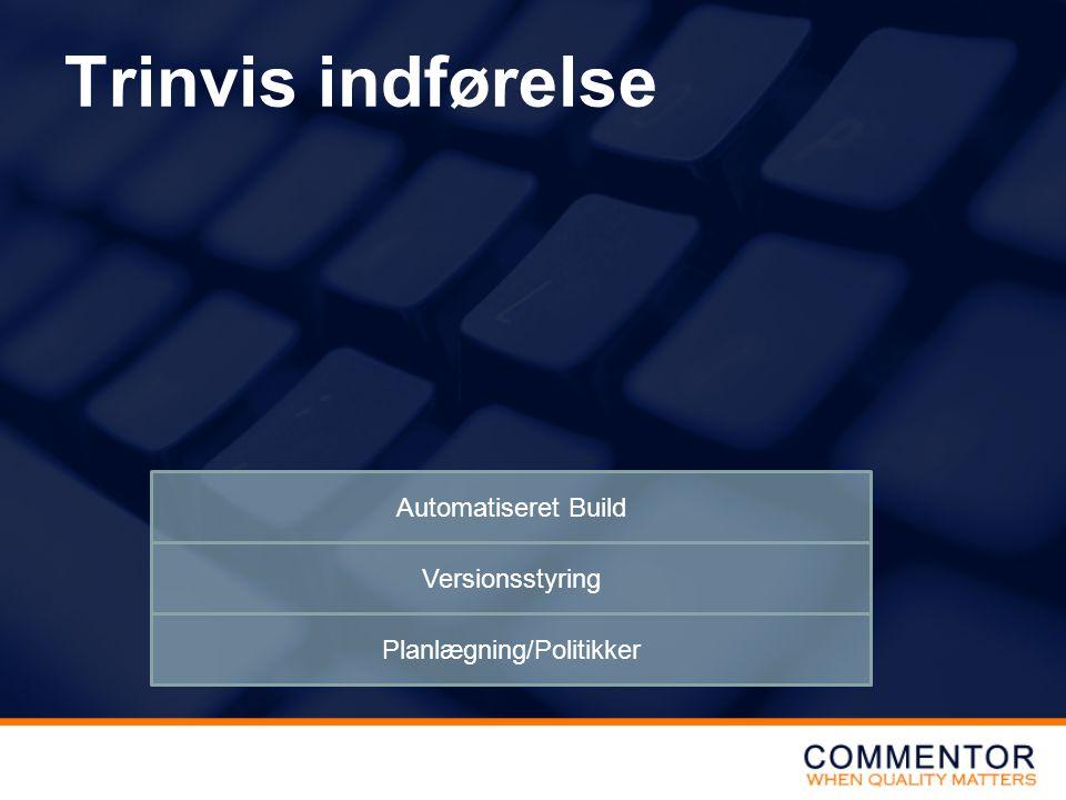 Trinvis indførelse Planlægning/Politikker Versionsstyring Automatiseret Build