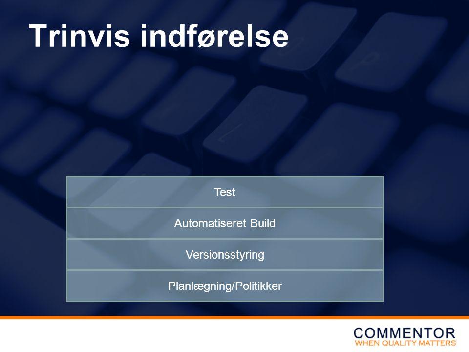 Trinvis indførelse Planlægning/Politikker Versionsstyring Automatiseret Build Test