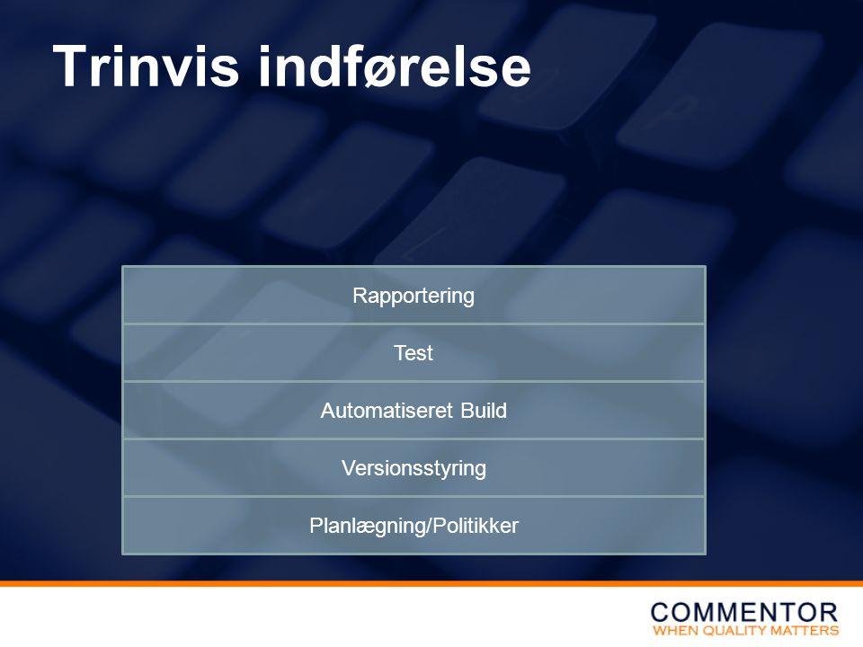 Trinvis indførelse Planlægning/Politikker Versionsstyring Automatiseret Build Test Rapportering