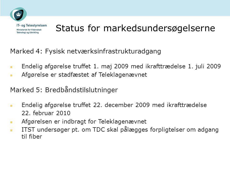 Status for markedsundersøgelserne Marked 4: Fysisk netværksinfrastrukturadgang Endelig afgørelse truffet 1.