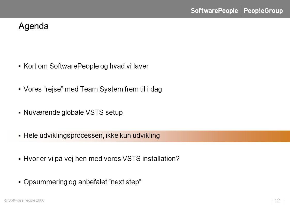 12 © SoftwarePeople 2006 Agenda  Kort om SoftwarePeople og hvad vi laver  Vores rejse med Team System frem til i dag  Nuværende globale VSTS setup  Hele udviklingsprocessen, ikke kun udvikling  Hvor er vi på vej hen med vores VSTS installation.