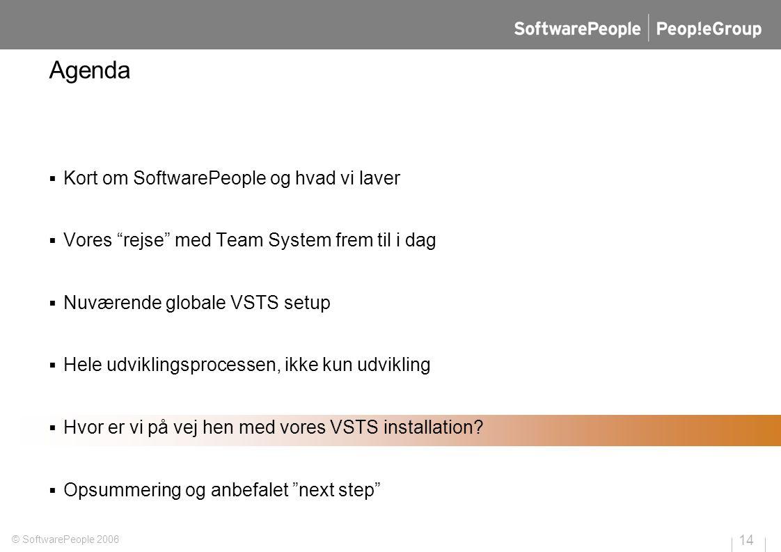 14 © SoftwarePeople 2006 Agenda  Kort om SoftwarePeople og hvad vi laver  Vores rejse med Team System frem til i dag  Nuværende globale VSTS setup  Hele udviklingsprocessen, ikke kun udvikling  Hvor er vi på vej hen med vores VSTS installation.