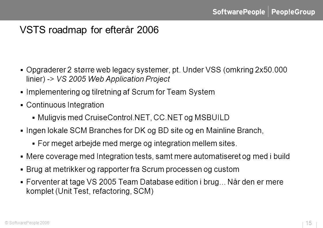 VSTS roadmap for efterår 2006  Opgraderer 2 større web legacy systemer, pt.