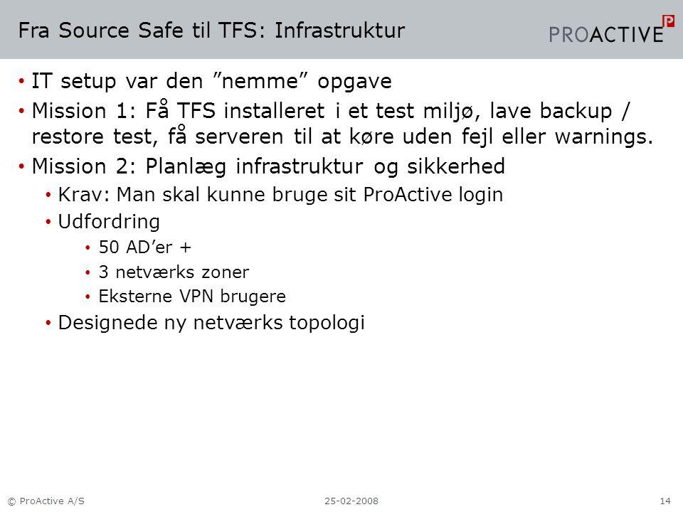 Fra Source Safe til TFS: Infrastruktur IT setup var den nemme opgave Mission 1: Få TFS installeret i et test miljø, lave backup / restore test, få serveren til at køre uden fejl eller warnings.