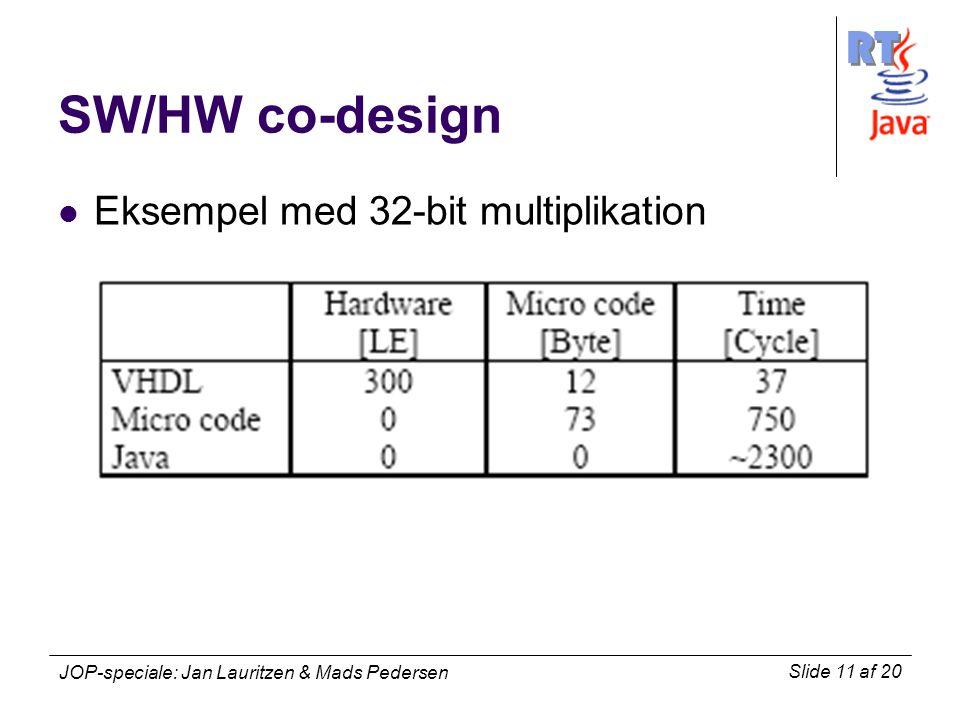 RT Slide 11 af 20 JOP-speciale: Jan Lauritzen & Mads Pedersen SW/HW co-design Eksempel med 32-bit multiplikation