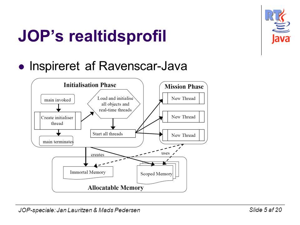 RT Slide 5 af 20 JOP-speciale: Jan Lauritzen & Mads Pedersen JOP's realtidsprofil Inspireret af Ravenscar-Java