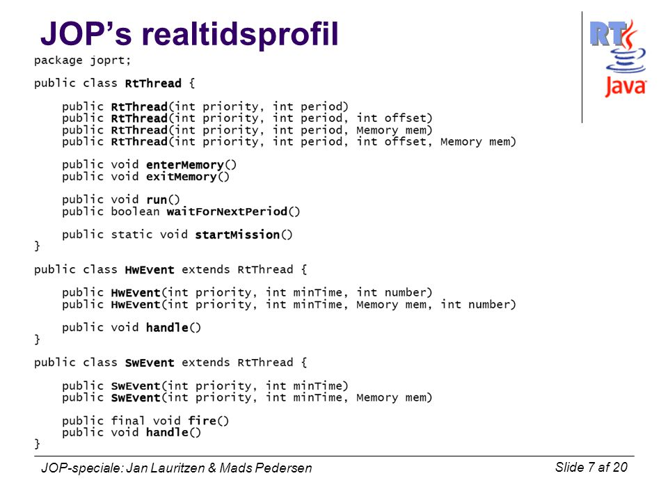 RT Slide 7 af 20 JOP-speciale: Jan Lauritzen & Mads Pedersen JOP's realtidsprofil