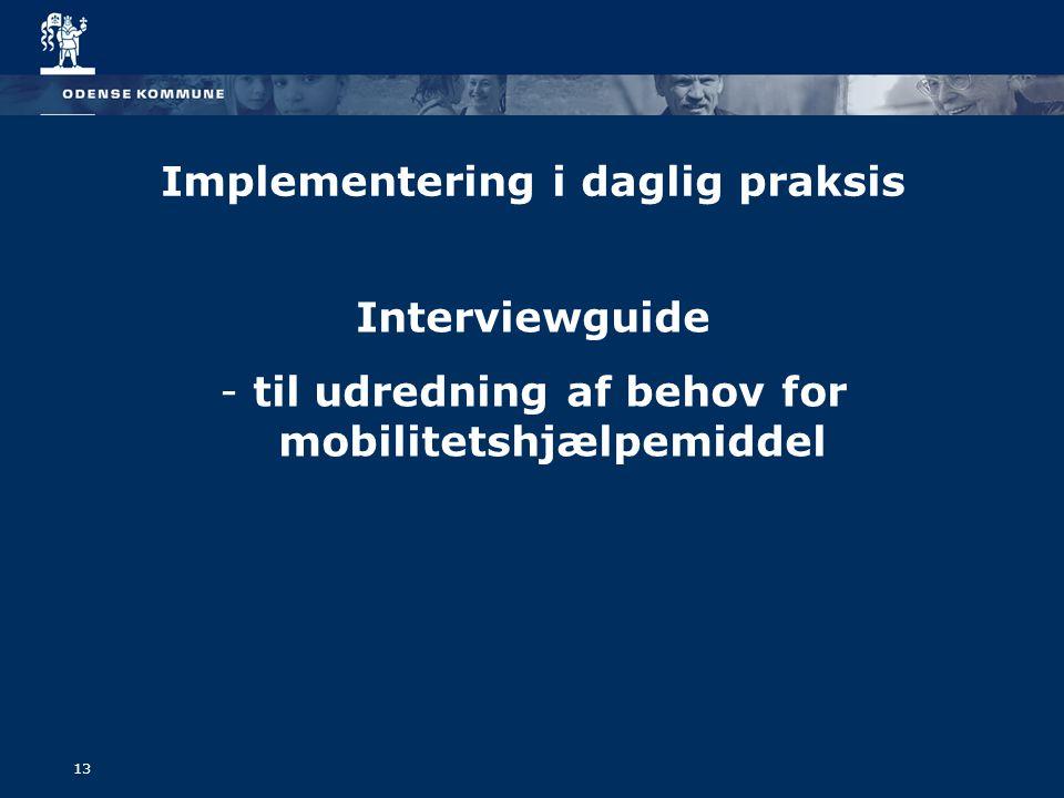 Implementering i daglig praksis Interviewguide - til udredning af behov for mobilitetshjælpemiddel 13
