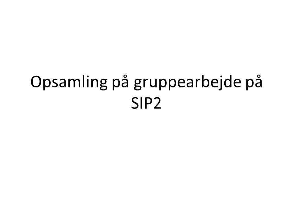 Opsamling på gruppearbejde på SIP2