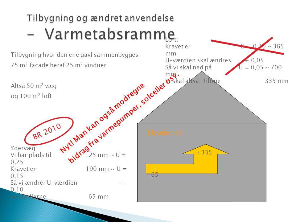 Ydervæg: Vi har plads til 125 mm ~ U = 0,25 Kravet er 190 mm ~ U = 0,15 Så vi ændrer U-værdien + 0,10 ved at fjerne 65 mm Loft: Kravet er U = 0,10 ~ 3