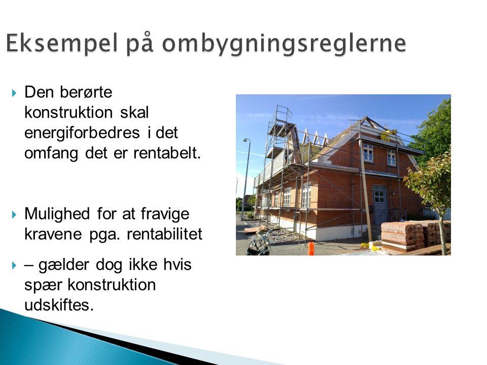 Eksempel på ombygningsreglerne  Den berørte konstruktion skal energiforbedres i det omfang det er rentabelt.  Mulighed for at fravige kravene pga. r