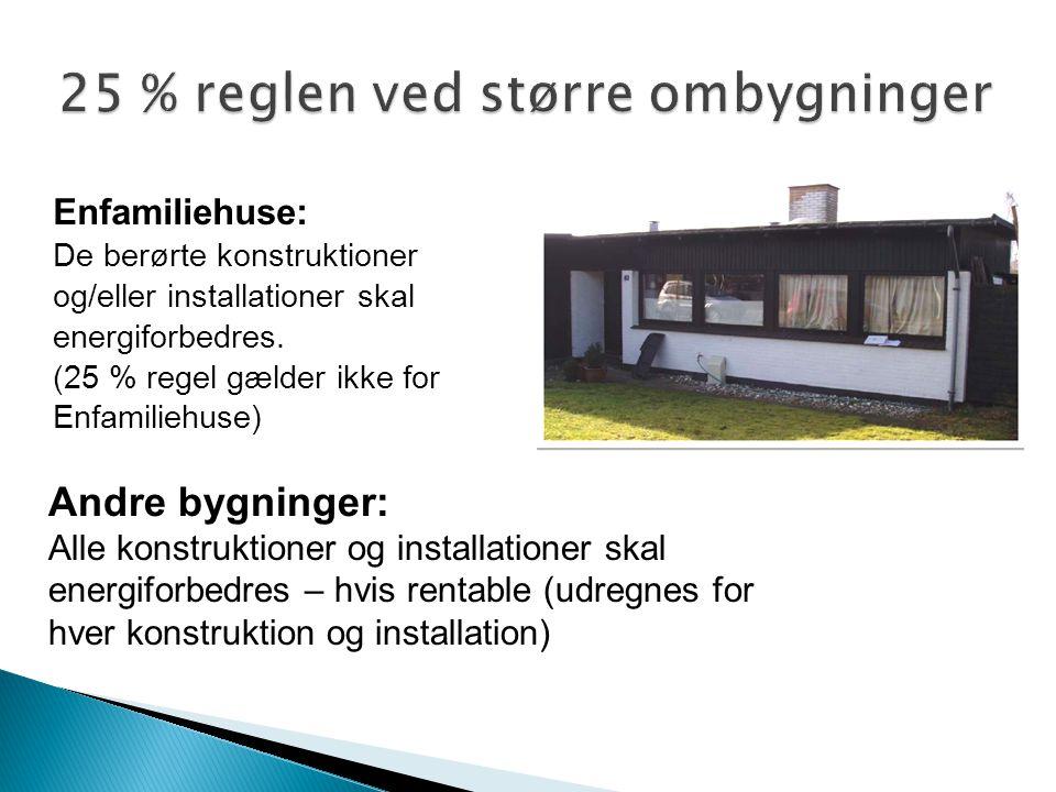 25 % reglen ved større ombygninger Enfamiliehuse: De berørte konstruktioner og/eller installationer skal energiforbedres. (25 % regel gælder ikke for