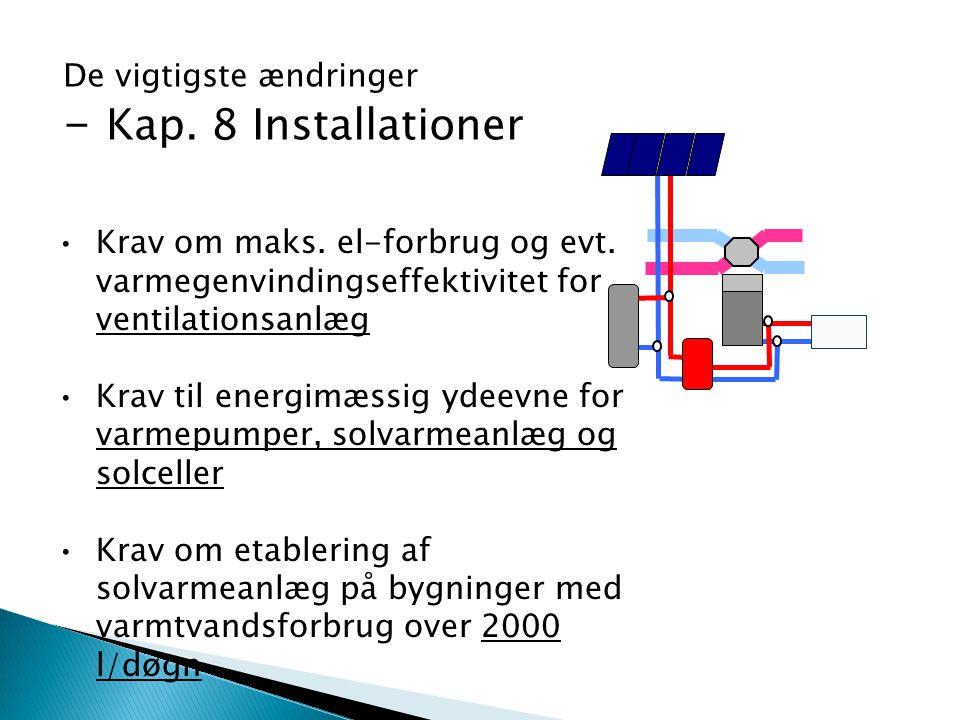 Krav om maks. el-forbrug og evt. varmegenvindingseffektivitet for ventilationsanlæg Krav til energimæssig ydeevne for varmepumper, solvarmeanlæg og so