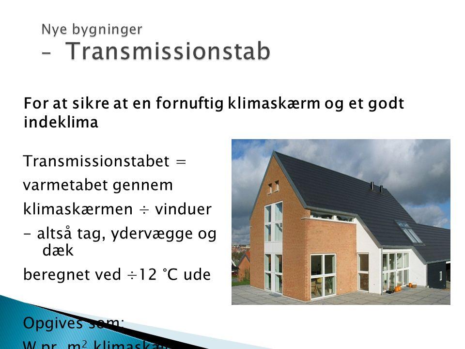 For at sikre at en fornuftig klimaskærm og et godt indeklima Transmissionstabet = varmetabet gennem klimaskærmen ÷ vinduer - altså tag, ydervægge og d