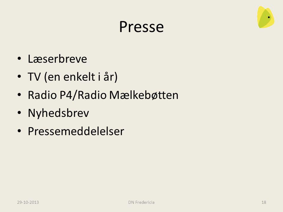 Presse Læserbreve TV (en enkelt i år) Radio P4/Radio Mælkebøtten Nyhedsbrev Pressemeddelelser 29-10-2013DN Fredericia18
