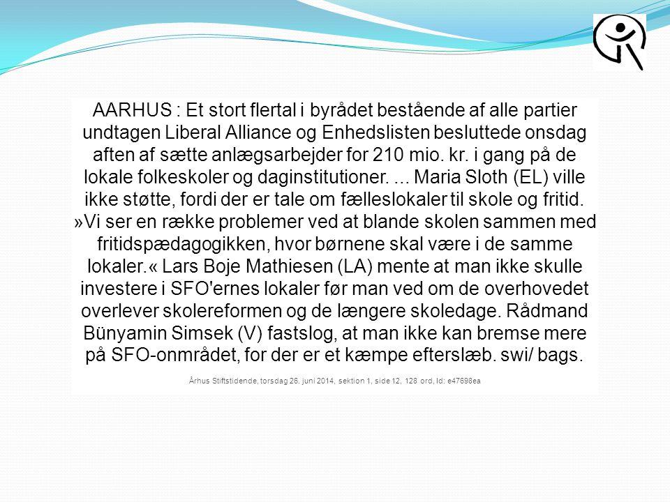 AARHUS : Et stort flertal i byrådet bestående af alle partier undtagen Liberal Alliance og Enhedslisten besluttede onsdag aften af sætte anlægsarbejder for 210 mio.